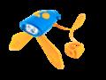 blauwe mini hornit met oranje flapjes